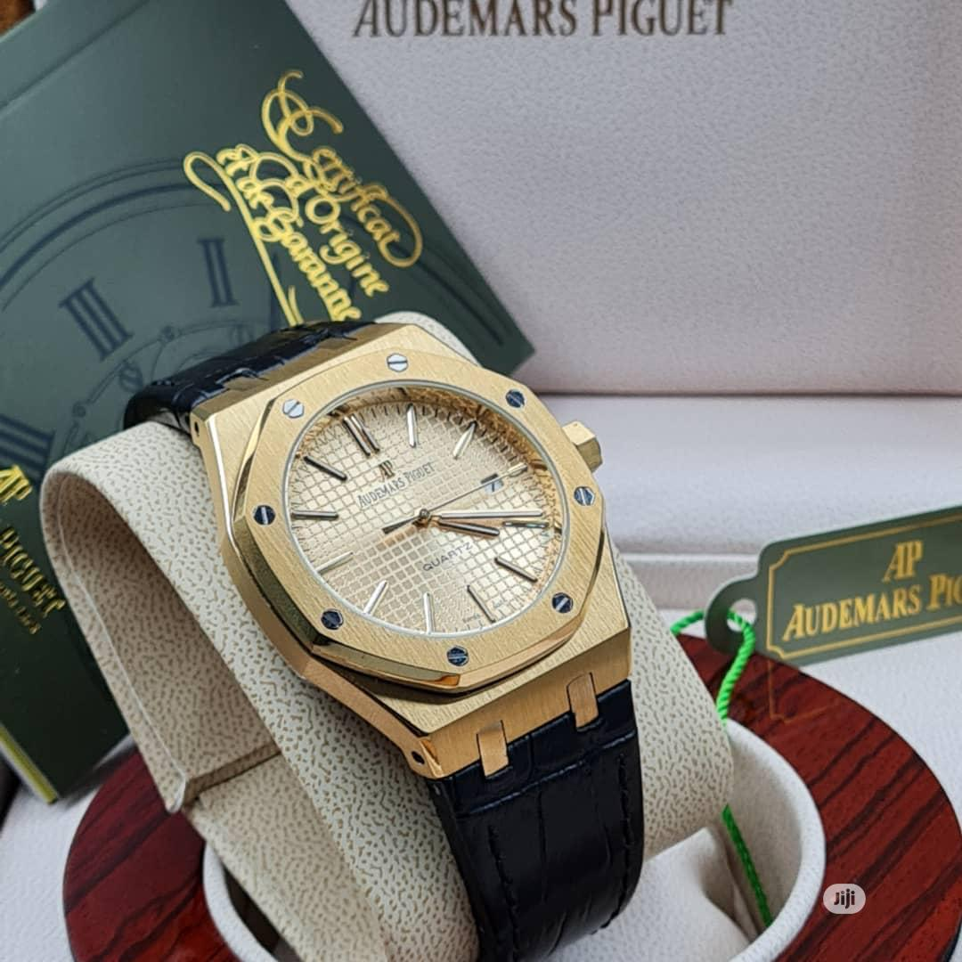 High Quality Audemars Piguet Gold Dial Leather Watch