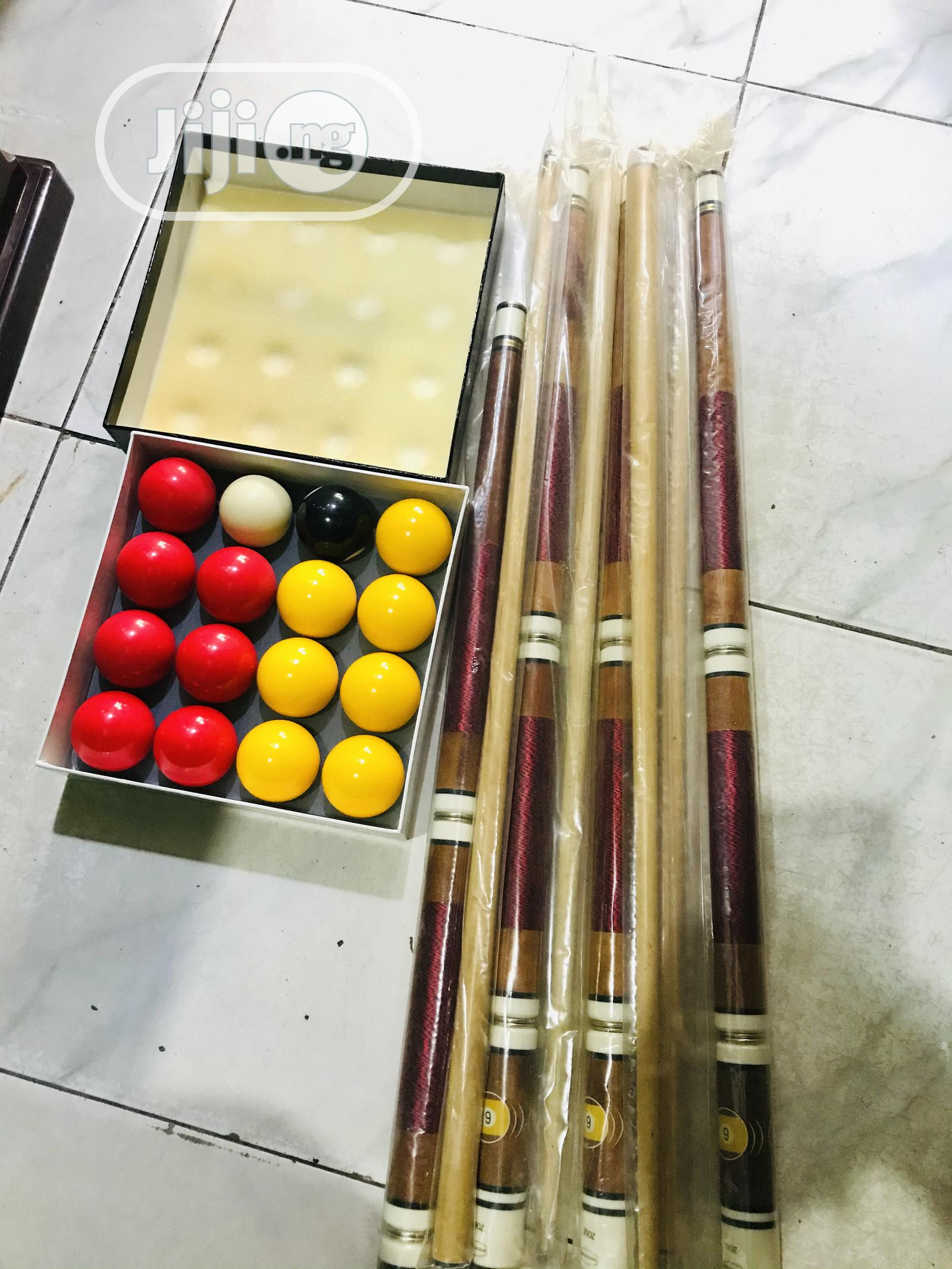 Snooker Sticks(Two Piece) and Balls   Sports Equipment for sale in Surulere, Lagos State, Nigeria