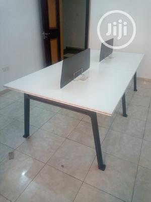 White 4-Man Workstation With Metal Legs | Furniture for sale in Lagos State, Victoria Island