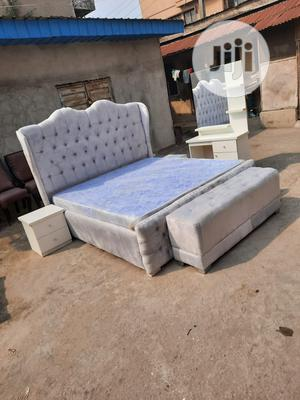(6/6) Upholstery Bed Frame With Quality Mattress Mirror | Furniture for sale in Lagos State, Ojo
