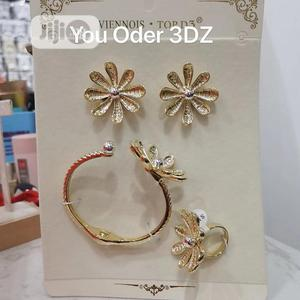 Gold Earrings and Bangle With Ring   Jewelry for sale in Lagos State, Ojo