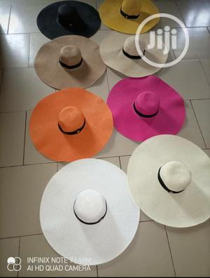 Plain Colour Straw Hat Large Summer Beach Sun Hat | Clothing Accessories for sale in Lagos State, Alimosho