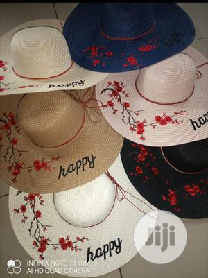Happy Embroidery Straw Hat Large Summer Beach Sun Hat | Clothing Accessories for sale in Lagos State, Alimosho