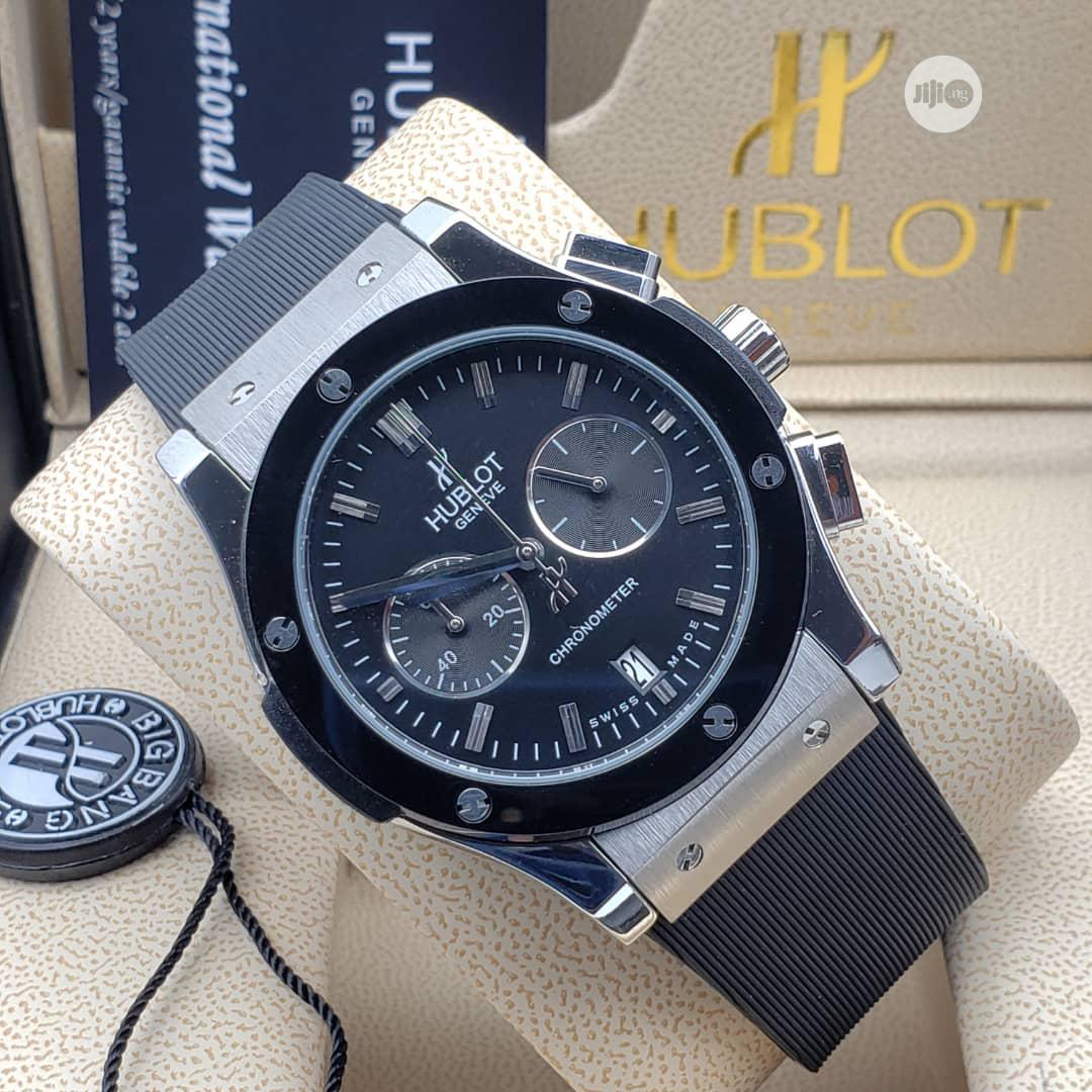 Hublot Chronograph Silver/Black Leather Strap Watch