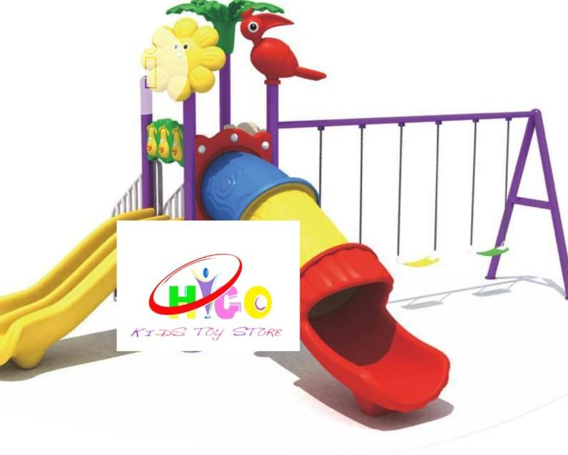 Archive: Big Play With Tunnel Playhouse With Double Slide and Swing