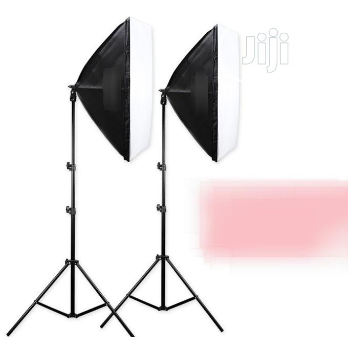 2 Pieces of Photo Camera Light Box With Tall Light Stand