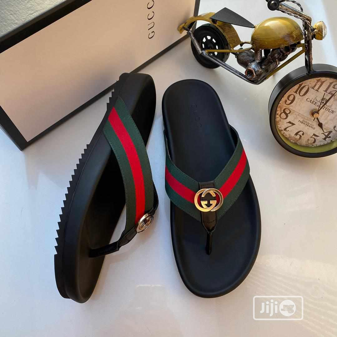 Men Gucci Palm Slippers