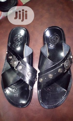 Black Crossed Italian Leather Slippers   Shoes for sale in Lagos State, Surulere