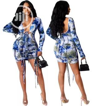 Autumn Party Tie Dye Sexy Low Back Ruched Mini Dress | Clothing for sale in Lagos State, Lekki