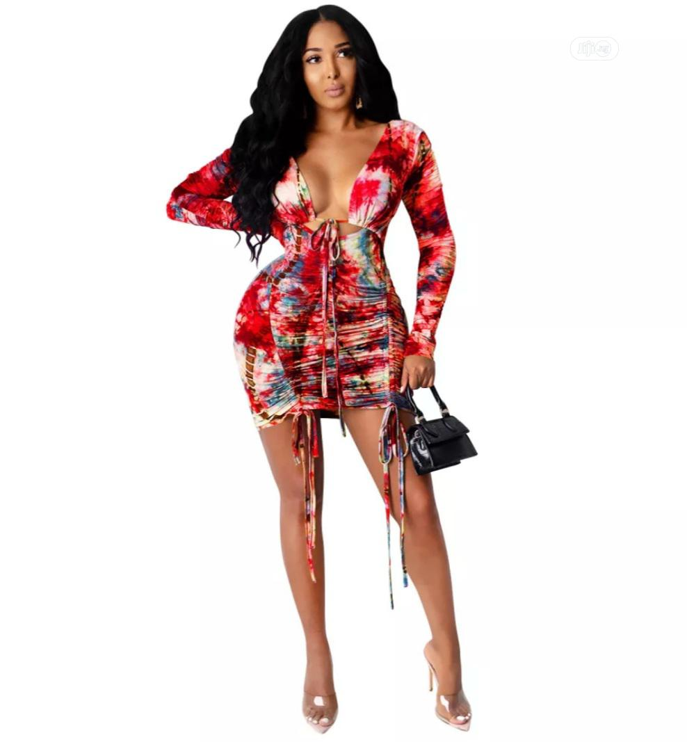 Autumn Party Tie Dye Sexy Low Back Ruched Mini Dress | Clothing for sale in Lekki, Lagos State, Nigeria