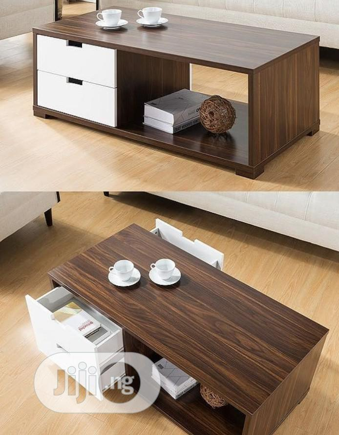 White and Brown Center Table With Drawers