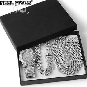 Watch /Cuban Chain / Bracelet ( Iced Out 3-In-1 Silver )   Jewelry for sale in Lagos State, Surulere