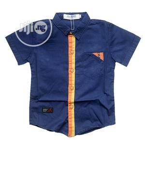 Boys Cotton Short Sleeve Shirt -Blue and Multi | Children's Clothing for sale in Lagos State, Ojota
