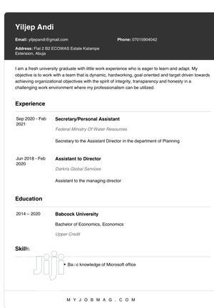 Clerical Administrative CV | Clerical & Administrative CVs for sale in Plateau State, Mangu