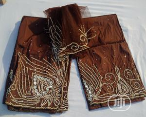 Bedazzled Brown Pre-cut Indian George With Blouse - 7 Yards | Clothing for sale in Abuja (FCT) State, Kubwa