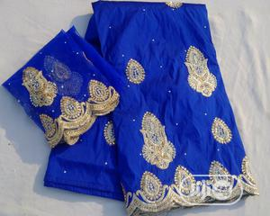 Royal Blue And Gold Indian George With Blouse - 7 Yards | Clothing for sale in Abuja (FCT) State, Kubwa