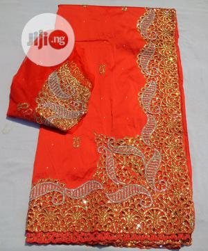 Bedazzled Red Side-border Indian George With Blouse | Clothing for sale in Abuja (FCT) State, Kubwa