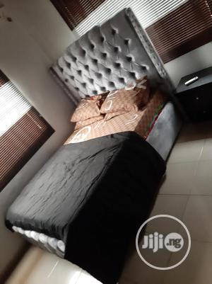 4×6 Upholstery Bed Frame With Original Mouka Mattress | Furniture for sale in Lagos State, Ojo
