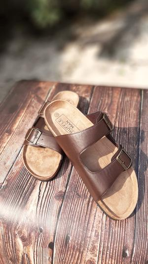 """""""Truffle Man"""" Brown Palm Slippers 