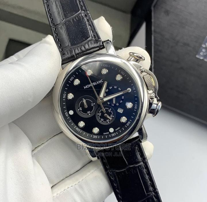 High Quality Montblanc Black Leather Watch for Men