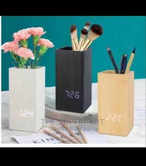 Wooden Pen Holder With LED Display Clock. | Home Accessories for sale in Lagos State, Surulere