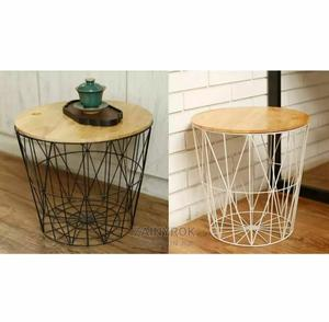 White Black Metal Wire Basket Wooden Top Side Table Storage | Furniture for sale in Lagos State, Alimosho