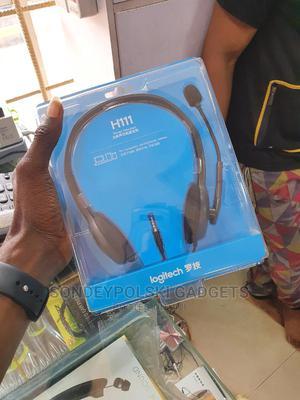 Logitech H111 Stereo Headset Adjustable Headband Boom Mic | Headphones for sale in Lagos State, Ikeja