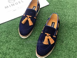 Blue Suede Loafers With White Sole and Brown Tassel Shoe | Shoes for sale in Lagos State, Mushin