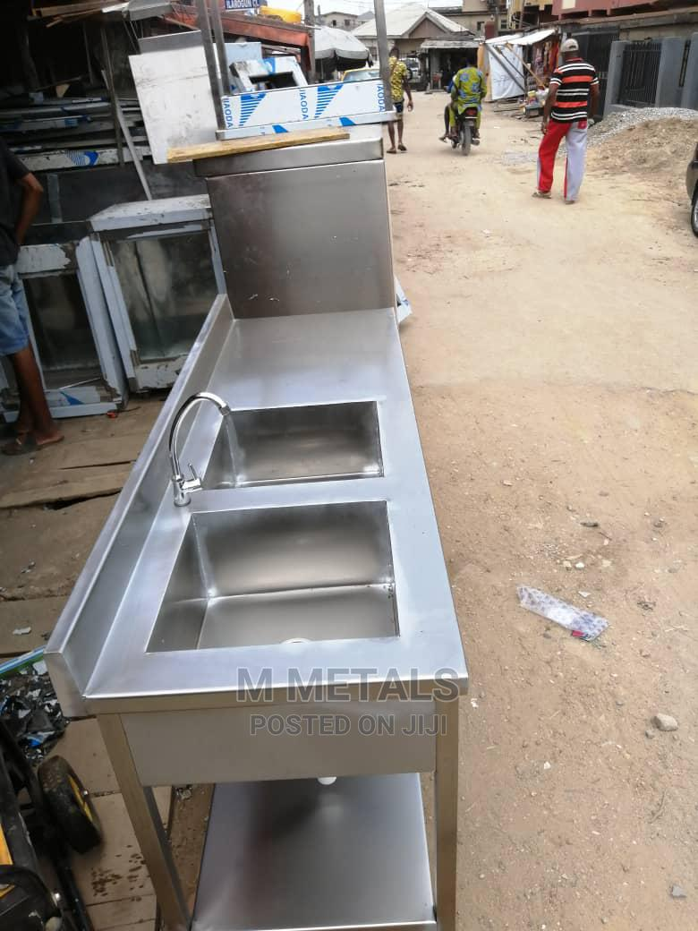 Industrial Double Sink Work Table