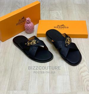 High Quality Hremes Black Leather Slippers for Men | Shoes for sale in Lagos State, Magodo