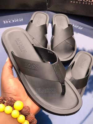 Original Hugo Boss Leather Black Slippers Available | Shoes for sale in Lagos State, Surulere