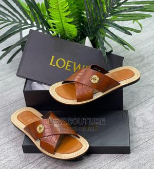 High Quality Loewe Brown Leather Slippers for Men | Shoes for sale in Lagos State, Magodo