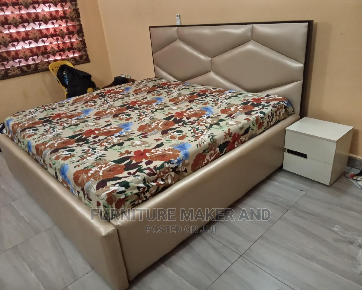 Modern Upholstered Bedframe 6 by 6 With Side Drawer | Furniture for sale in Ikeja, Lagos State, Nigeria