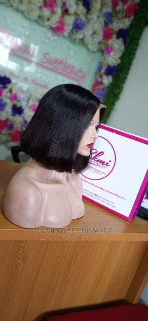 Double Drawn Short Bob Closure Human Hair Wig in Color 99j   Hair Beauty for sale in Lagos State, Yaba