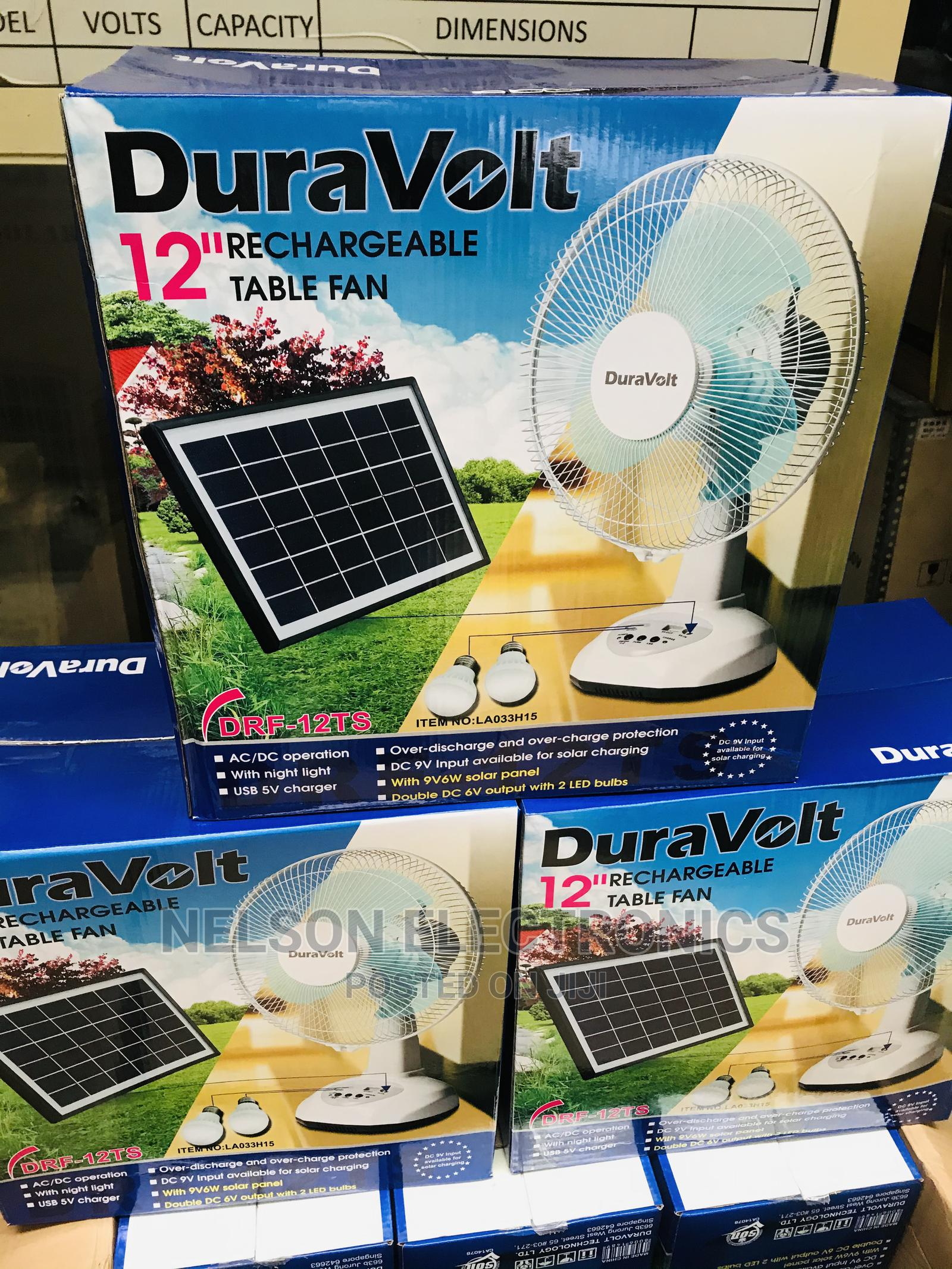 Duravolt Rechargeable Table Fan With Solar Panel And 2 Bulb
