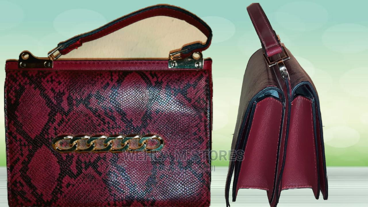 Archive: Red Croc Skin Mini Handbag With Chain Details