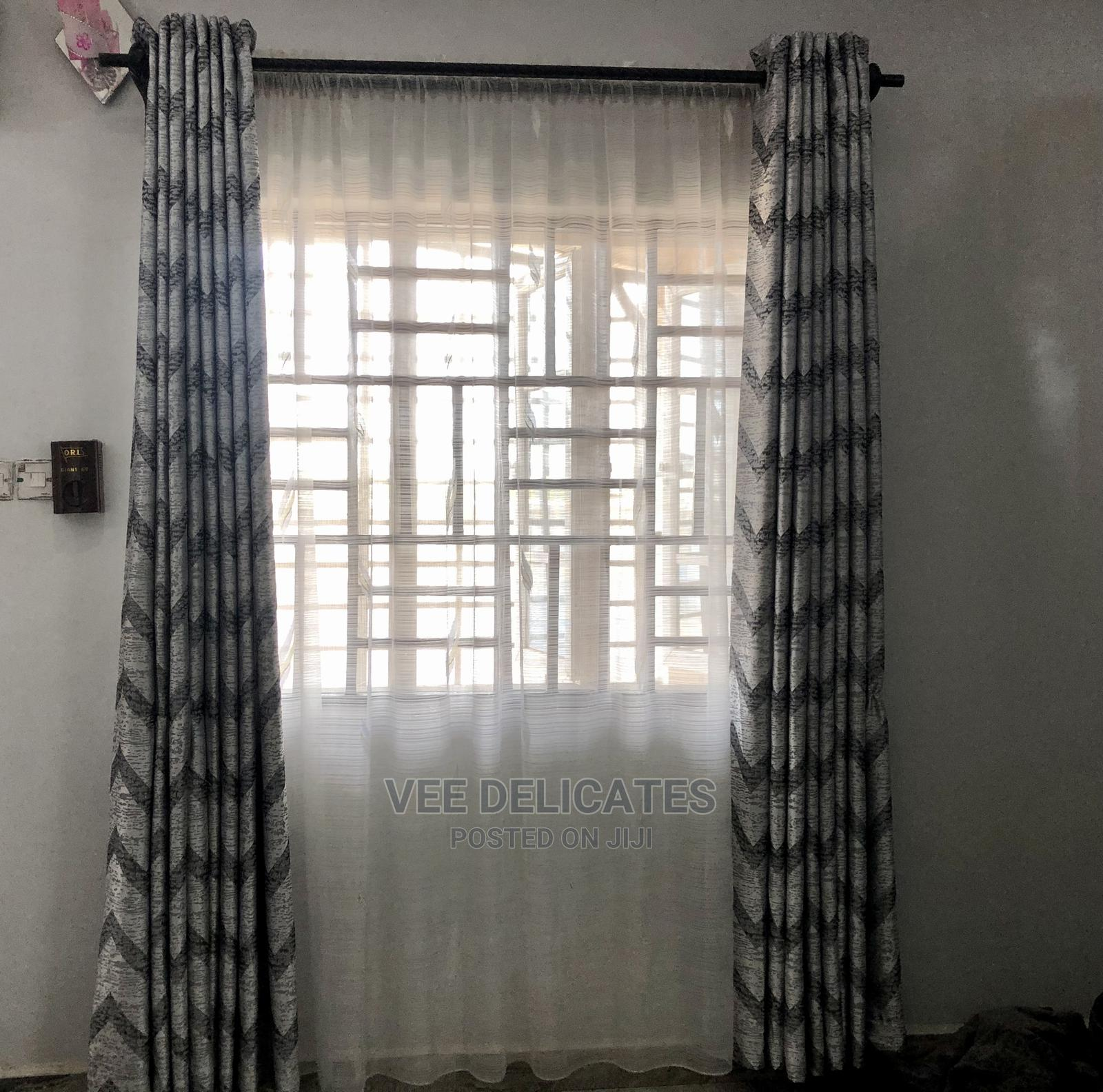 Gray and Silver Curtain With Ring Holes