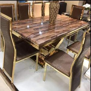 Gold Dinning by 6 With Brown Chair | Furniture for sale in Lagos State, Lekki