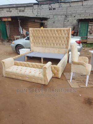 6/6 Upholstery Bed Frame With Couve Footstool | Furniture for sale in Lagos State, Ojo