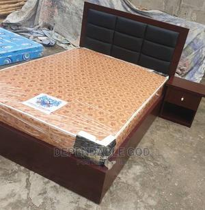 High Quality Modern 4/12 by 6 Bed With Matress Side Drawer   Furniture for sale in Lagos State, Ikoyi