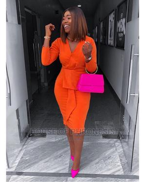 Orange Long Sleeve Bodycon Womens Corporate Dress   Clothing for sale in Lagos State, Gbagada