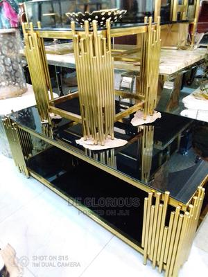 Golden Center Table Nd Side Stools | Furniture for sale in Lagos State, Victoria Island