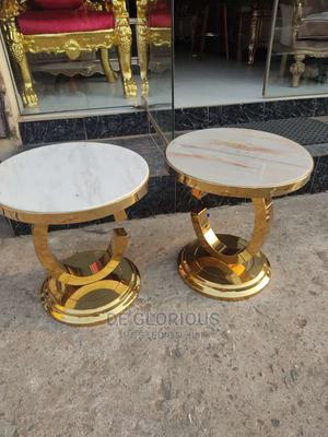 Gold Side Stool Marble Top | Furniture for sale in Lagos State, Ikoyi