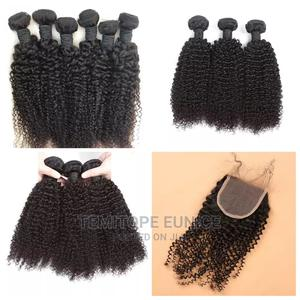 100% Human Hair Kinky Curls With Closure   Hair Beauty for sale in Lagos State, Ojodu