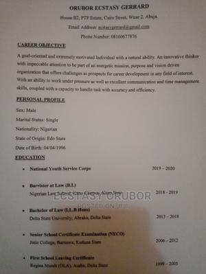 Legal CV   Legal CVs for sale in Abuja (FCT) State, Wuse 2