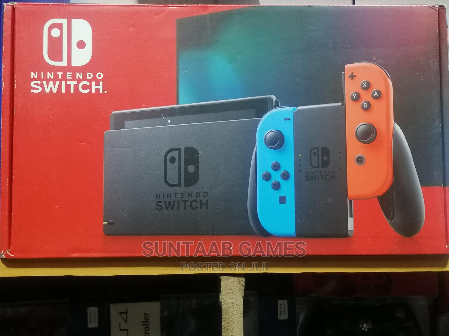 Nintendo Switch With Neon Blue and Neon Red Joy‐Con