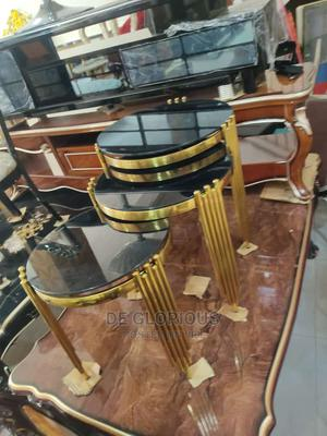 3step Gold Side Stools Glass Top | Furniture for sale in Lagos State, Victoria Island