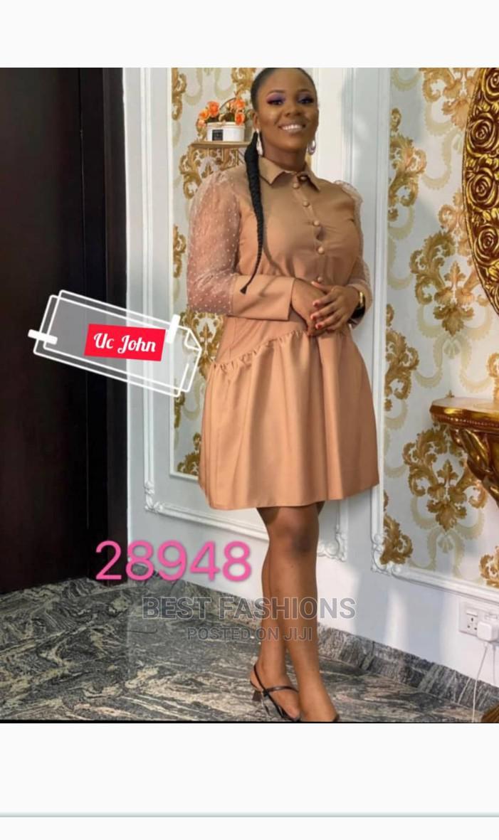 Smart Formal Female Brown Short Dress