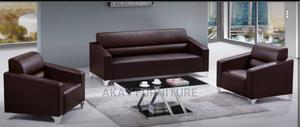 Brown Leather Office Sofa Set 3+1+1 | Furniture for sale in Lagos State, Ikoyi