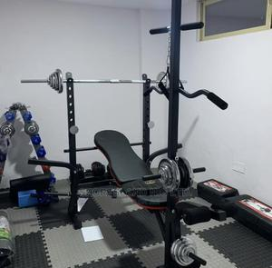 50kg Weigth Bench Press With Barbel And Long Pull Up | Sports Equipment for sale in Abuja (FCT) State, Apo District
